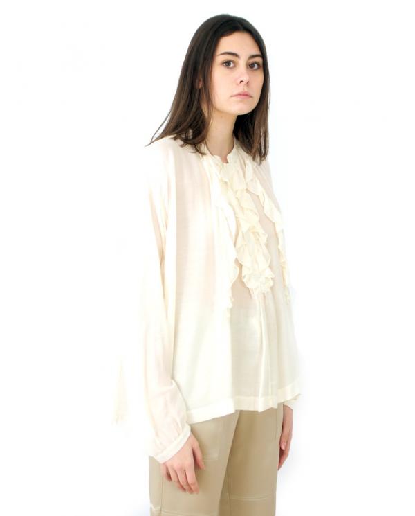 SEMI COUTURE Blusa BIBIANE con rouches Bianco Seta Y1SI01.A10-0