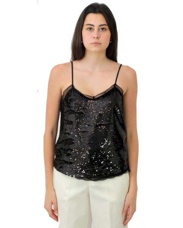 TWINSET Top in full paillettes e pizzo NERO 202TP2111.00006