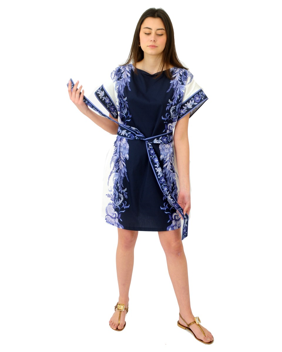 TWINSET Abito corto stampato PATCH PORCELAIN BLUE AND WHITE 211TT2191.06112