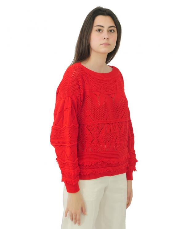 TWINSET Maglia crochet con frange CORALLO 211TT3031.00047