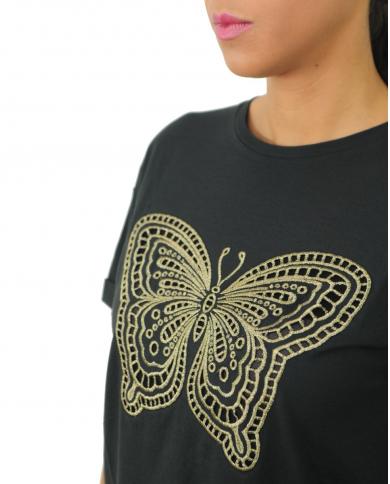 TWINSET T-shirt ricamo lurex Nero 192TT2560.06