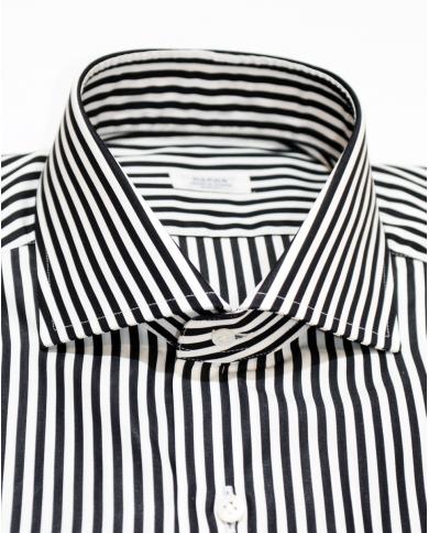 BARBA NAPOLI Camicia classica rigata Bianco/nero D4U132.5933 02