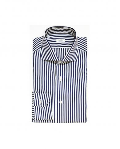 BARBA NAPOLI Camicia classica rigata Bianco/blu D4U132.5961 08