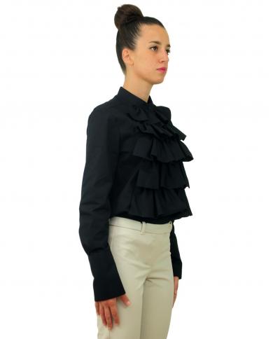 DONDUP Camicia con rouches Nero DC088.PF0014 XXX 999