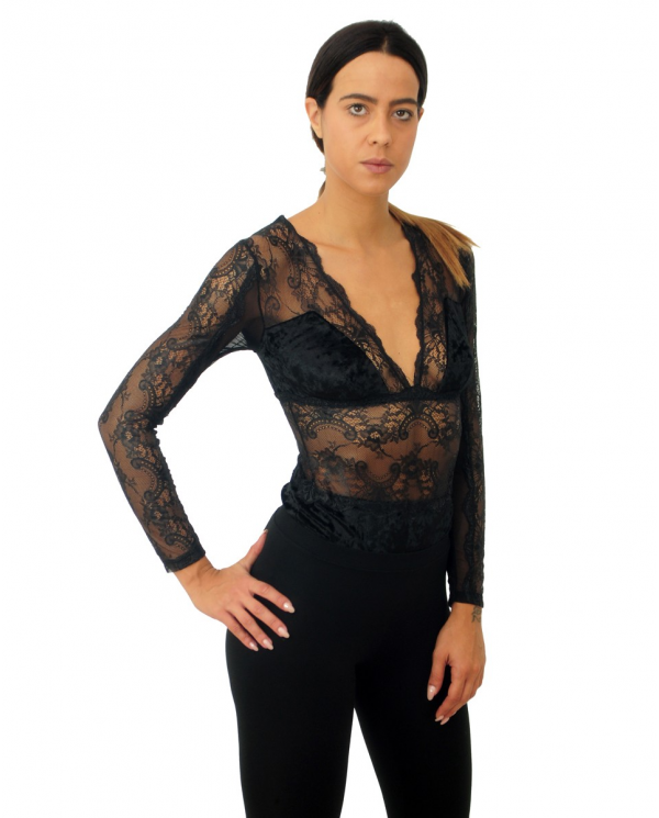 TWINSET Body in pizzo e...