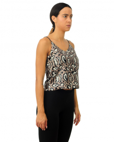 TPN Top full paillettes Nero/bianco TRIX TOP.BLACK WHITE