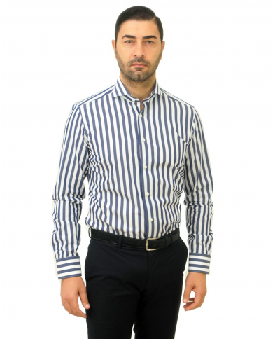 BRIO Camicia classica Italia slim rigata bianco blu SU.KS68802