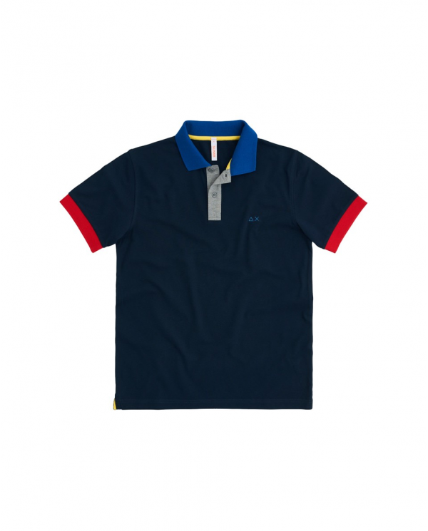 SUN 68 Polo 3 COLOR WAY EL Blu navy A30108 07