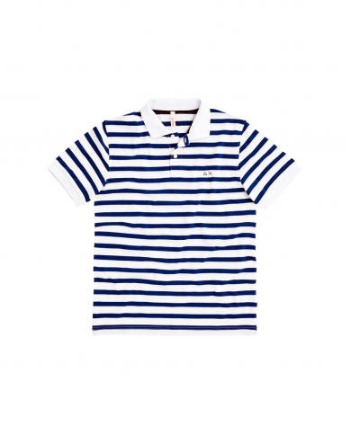 SUN 68 Polo FULL STRIPES EL Bianco/Royal A30113 0158