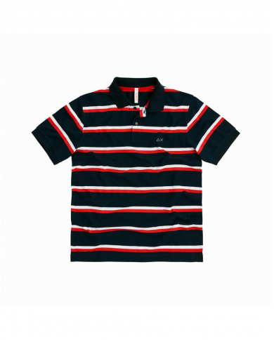 SUN 68 Polo FULL STRIPES EL Blu/Rosso A30113 0730