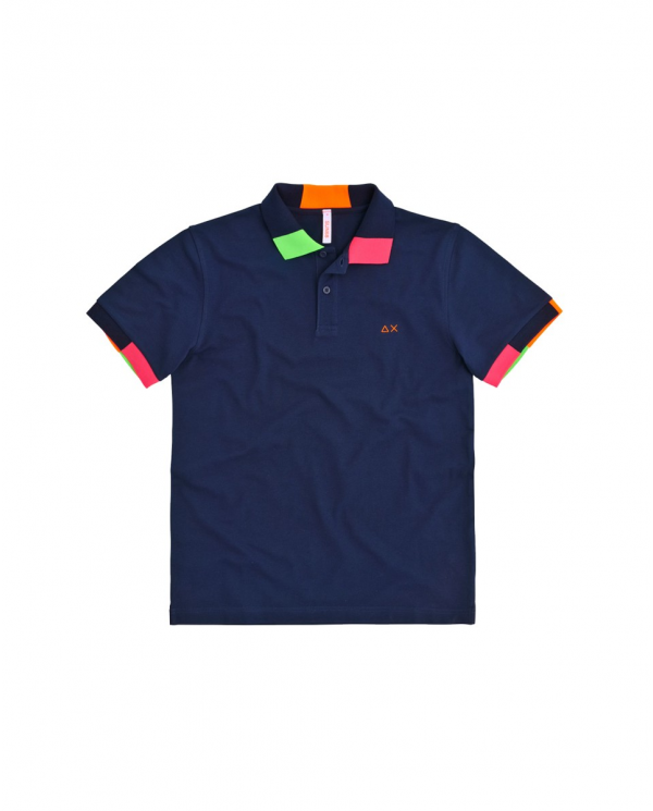 SUN 68 Polo FLUO MULTICOLOR EL Blu navy A30117 07