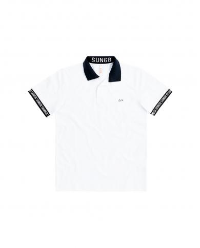 SUN 68 Polo print cuffs & collar el Bianco A30124 01