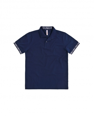 SUN 68 Polo print cuffs & collar el Blu navy A30124 07