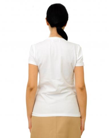 DONDUP T-shirt con perle e coralli Bianca S007 JS0241D ZB9 000