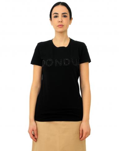 DONDUP T-shirt con pietre e coralli Nero S007 JS0241D ZB9 999