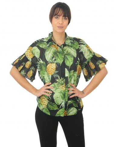 TWINSET Camicia con balze ST.SUMMER FRUITS NERO 201TT2460 05119